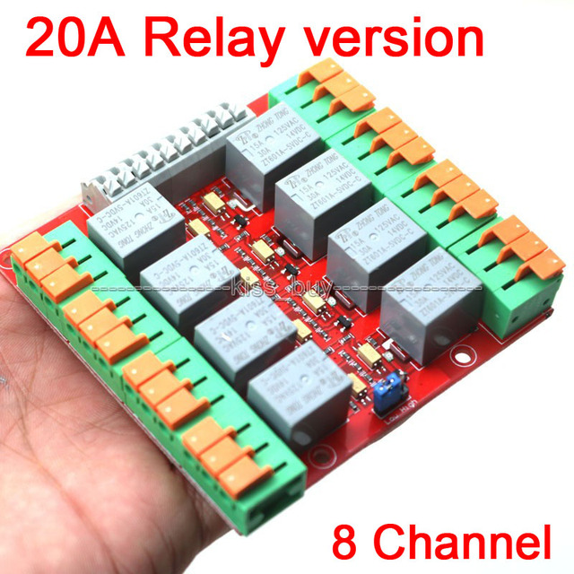 US $11 54 |8 Channel 20A Relay Control Module UNO MEGA2560 R3 Raspberry  Pi-in Integrated Circuits from Electronic Components & Supplies on