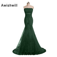 Fashion Strapless Beading Appliques Tulle Lace Up Back Mermaid Engagement Party Dress For Women Formal Evening