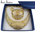 Jiayi jiaduo quente conjunto de jóias africano banhado a ouro-banhado colar brincos pulseira 4 ps nupcial mulheres acessórios de vestuário