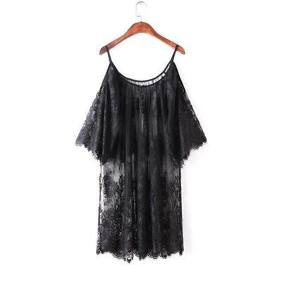 Black white off shoulder lace Nightgown Women Sexy Spaghetti Strap Patchwork Lingerie Dress Lace Sleepwear Sleepshirts Size S-XL 1