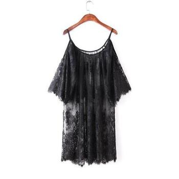 Black white off shoulder lace Nightgown Women 1