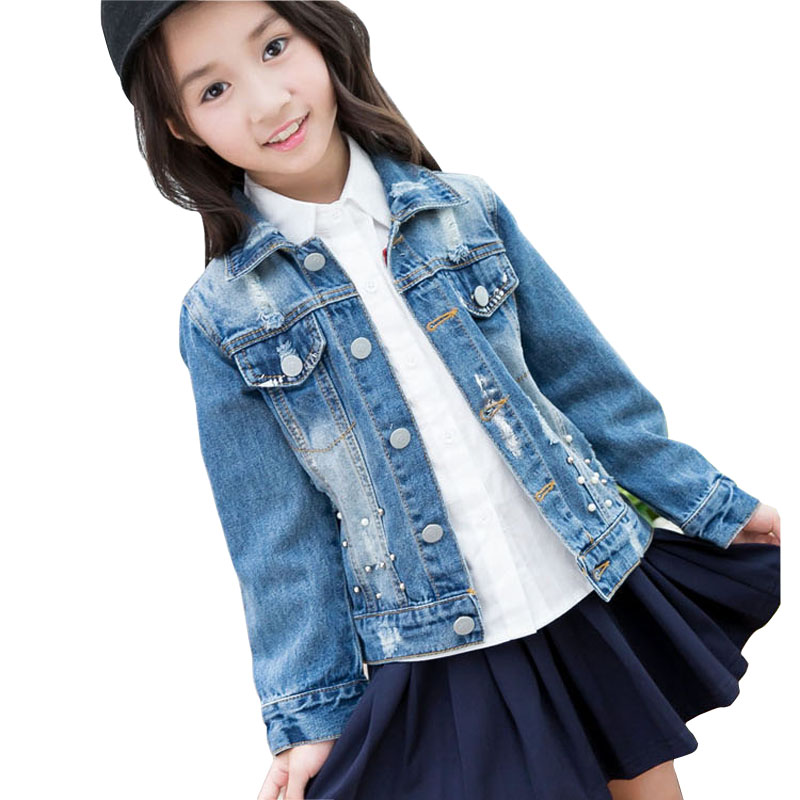 Hot Sale 4 13years Big Girls Denim Jackets Coats Fashion Hole Girls