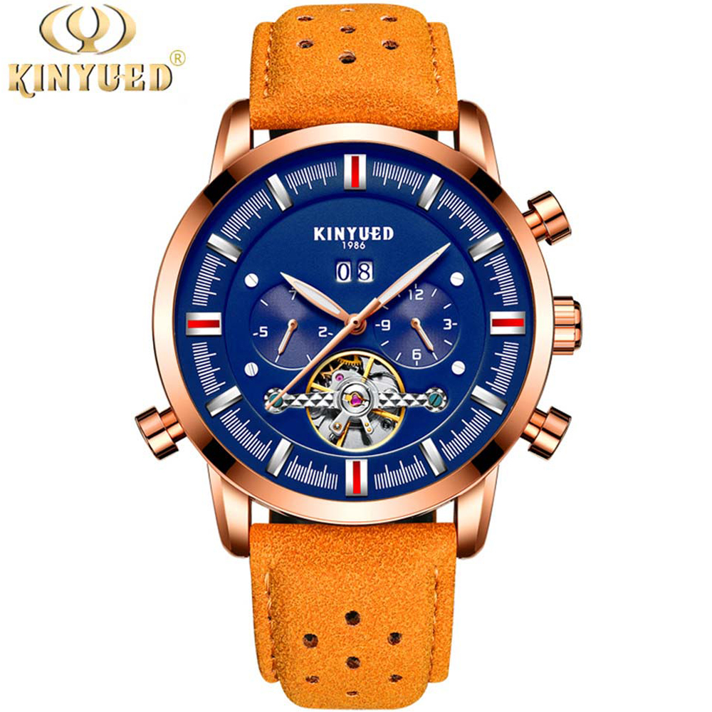 KINYUED Mens Top Brand Mechanical Watches Luxury Perpetual Tourbillon Automatic Watch Men Skeleton Calendar Relogio Masculino tourbillon business mens watches top brand luxury shockproof waterproof skeleton watch men mechanical automatic wristwatch