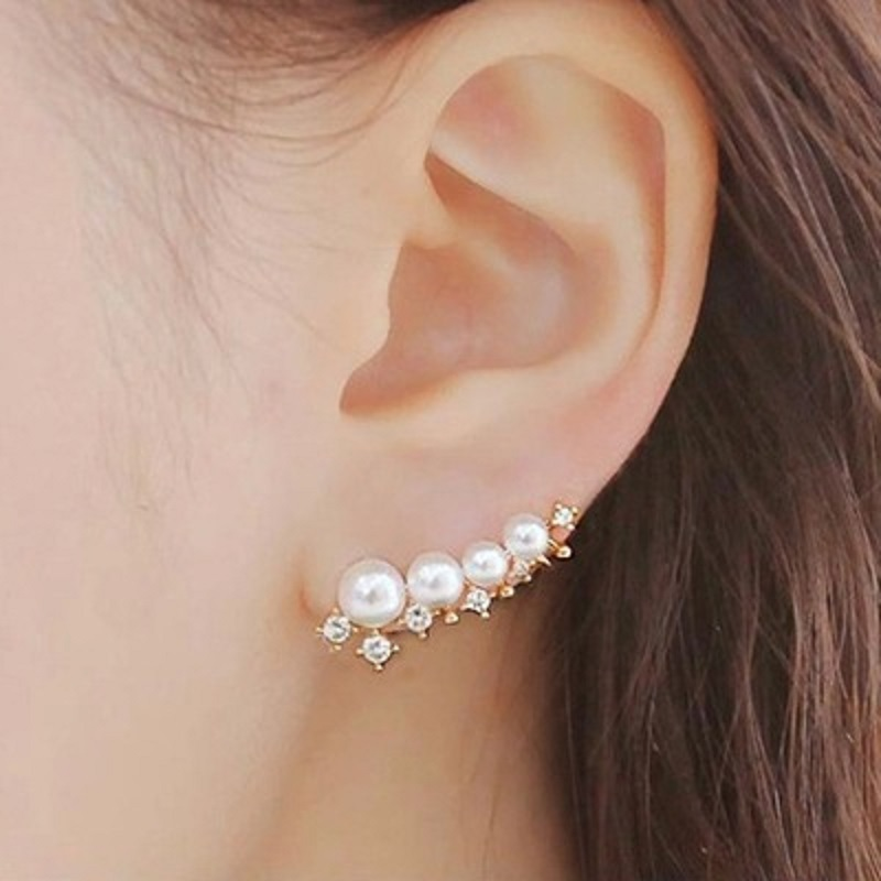silver needle simulated pearl ear cuff earringss