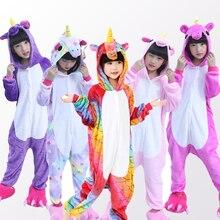 Купить с кэшбэком Boys Girls Pajamas unicorn Animal Pajamas Girls Winter kids pijama de unicornio infantil pyjama licorne enfant pillamas 4-12Year