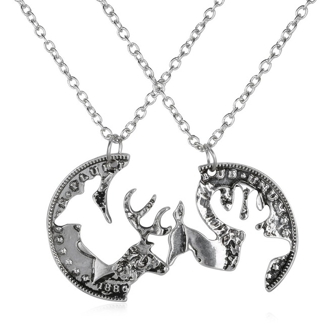 e7b0f88ed9 Deer Necklace Buck And Doe Necklace Custom Necklace Hunting boyfriend and girlfriend  pendant necklace set gift