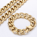 18.5mm Mens Chain GOLD Tone Cut Curb Link 316L Stainless Steel Bracelet Necklace Jewelry Wholesale Customized Gift Jewelry LHS30