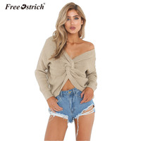 Free Ostrich Sweater Women 2017 Winter Pullover Solid Loose Pullover High Elastic V Neck Knitted Sweaters