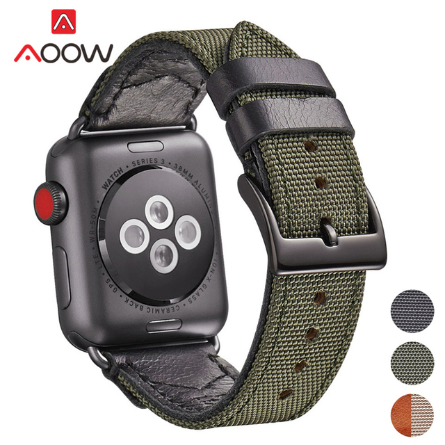 Nylon & Leather Lining Watchband for Apple Watch 40mm 44mm 38 42 Green Black Men Quality Bracelet Band Strap for iwatch 1 2 3 4