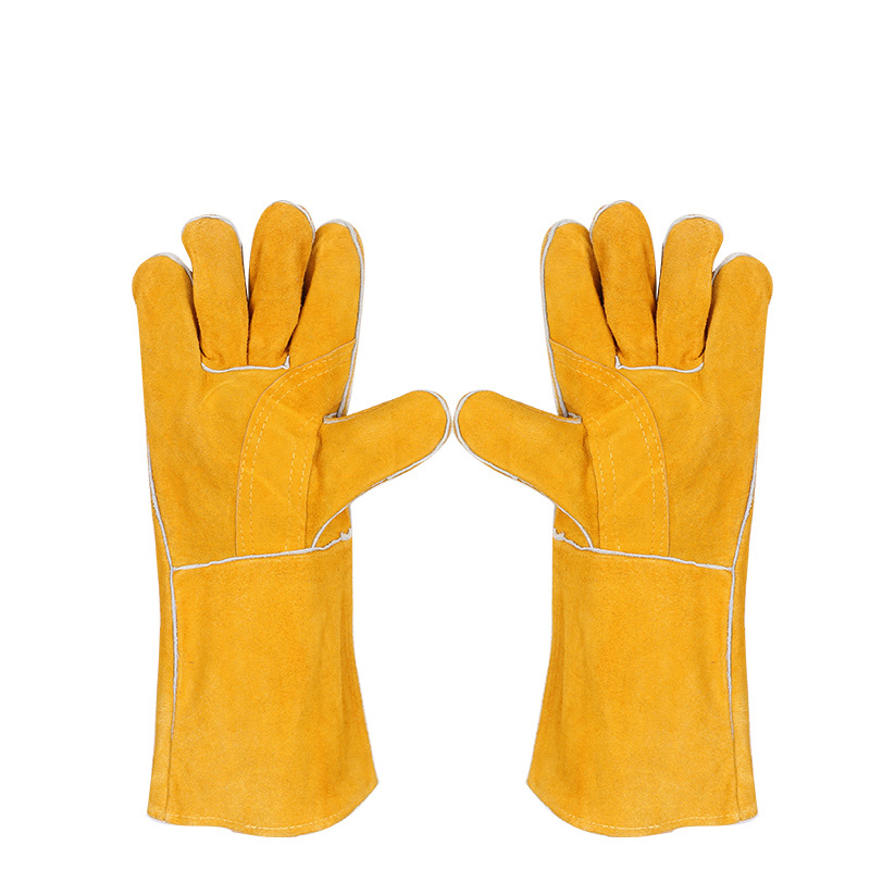 44cm long Cowhide Leather TIG MIG welding gloves, non-slip temperature resistance wear-resistant wear-resistant work gloves цена