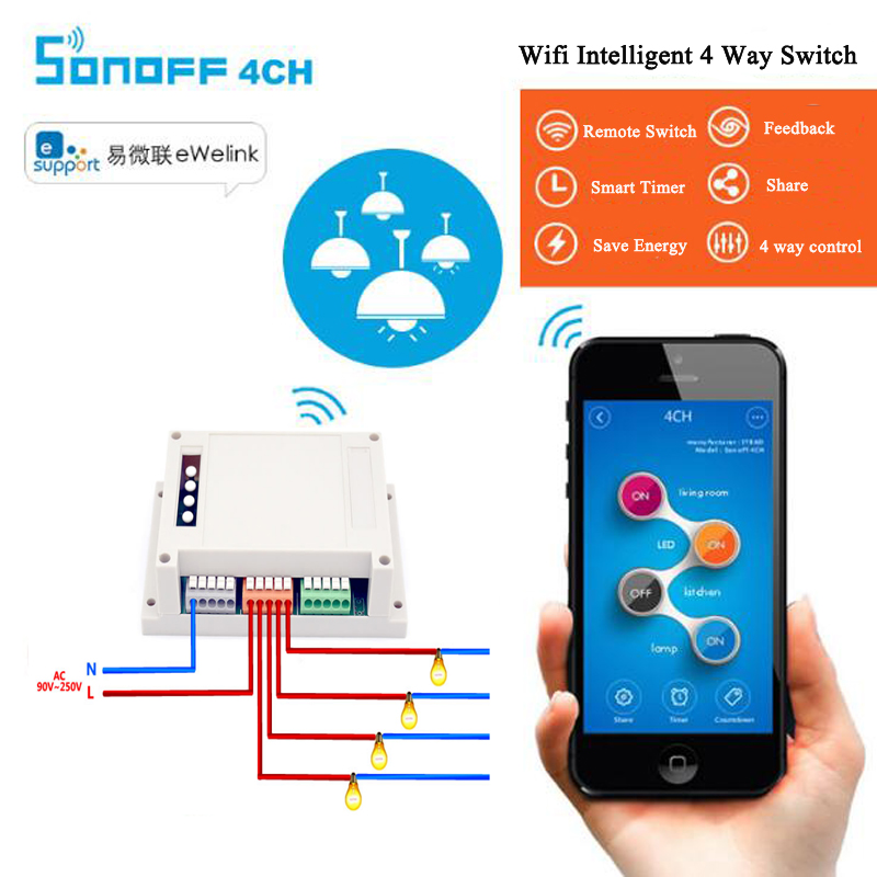 Itead Sonoff 4ch Channel Din Rail Mounting WiFI Switch Smart Home Automation Module on/off Wireless Timer Diy Switch 10A/2200W eu us smart home remote touch switch 1 gang 1 way itead sonoff crystal glass panel touch switch touch switch wifi led backlight