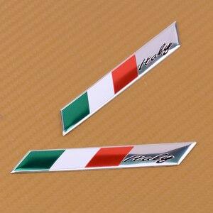 DWCX 2Pcs 3D Aluminum Italy Flag Car Stickers Fender Trunk Emblem Badge Sticker Decoration Fit for Audi BMW VW Alfa Romeo FIAT