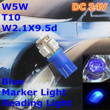 24 V Lâmpada Do bulbo Do Carro T10 LEVOU Cor Azul (5*5050) W5W W2.1X9.5d por Sinal Topo Largura de leitura Luz