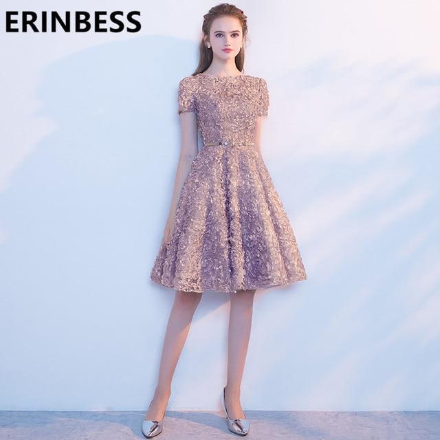 b809b65ddb9211d Праздничное платье Короткие Выпускные Платья цвет шампанского Роскошные  вышитое бисером, до колена Для женщин официальная
