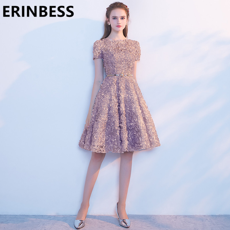 Vestido De Festa Short   Prom     Dresses   Champagne Luxury Beaded Knee Length Women Formal Party Gowns 2019