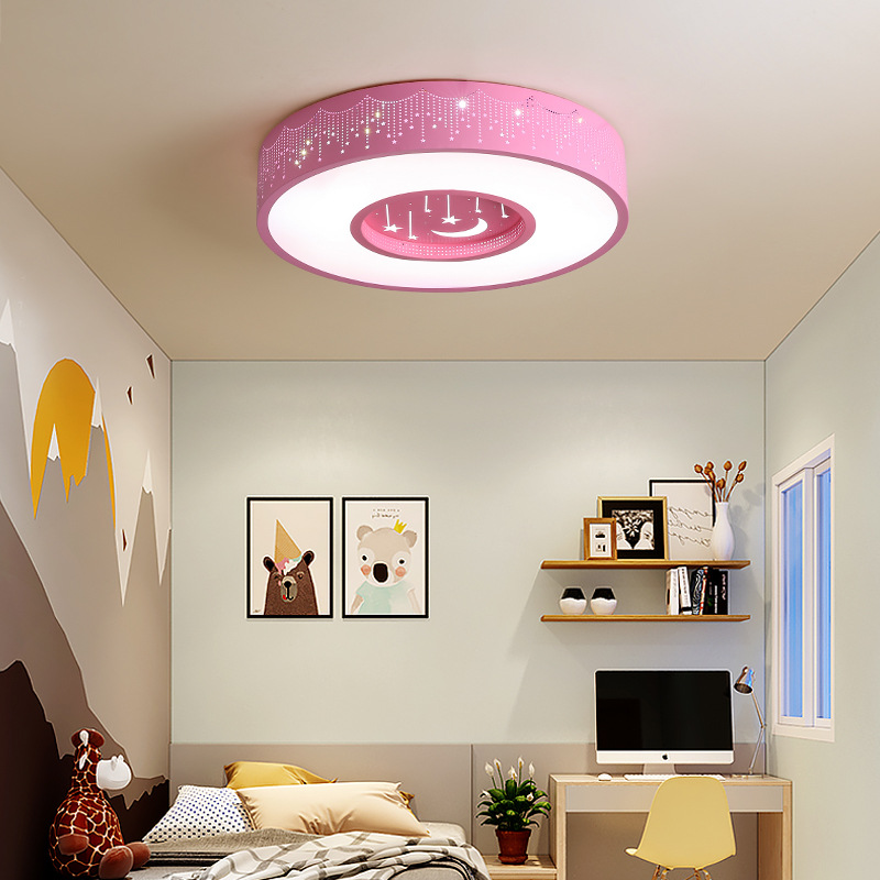 Creative warm children's lamp bedroom LED ceiling lamp simple remote control color change boys and girls children's room lamp