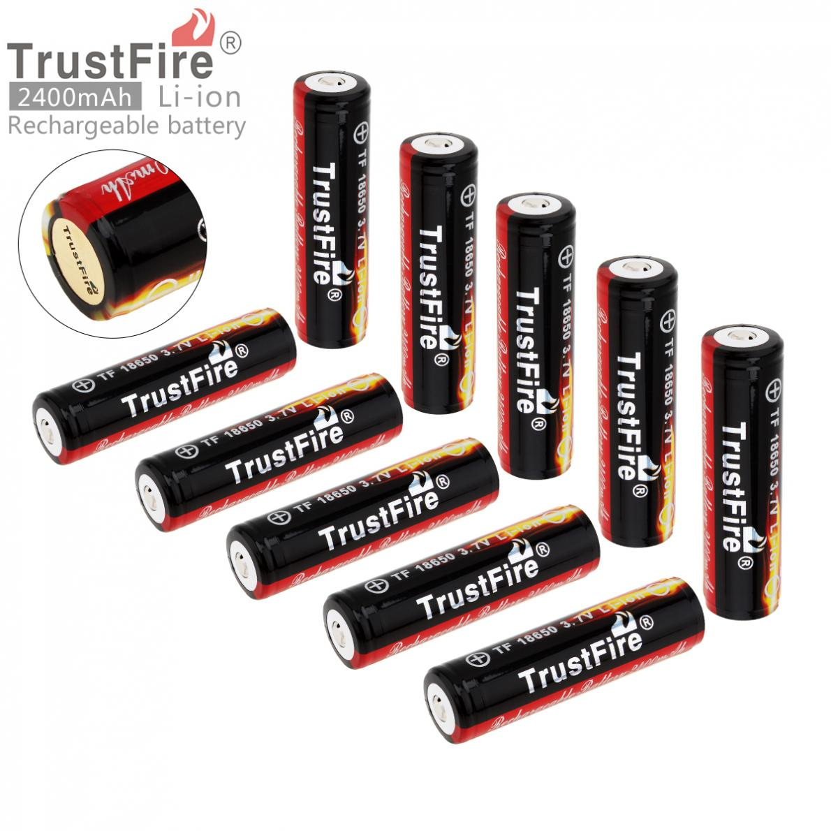 TrustFire 10pcs 3.7V 18650 2400mAh Li-ion Rechargeable Battery with Protected PCB for LED Flashlights Headlamps 2pcs trustfire 2400mah 3 7v 18650 lithium battery rechargeable li ion battery with protected pcb for led flashlight headlamp