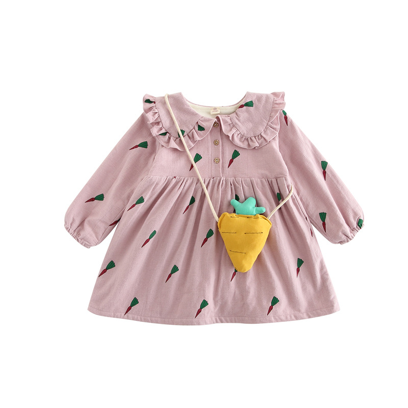 Children's clothing girls sweet print dress plus velvet thickening large lapel dress to send carrot bag