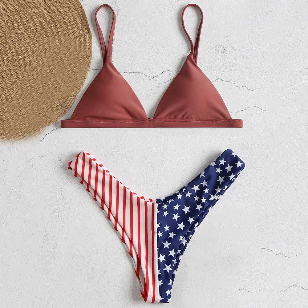 2018 New American Flag Printed Bikini Set Spaghetti Straps High Cut Swimsuit Women Bathing Suit Beach Summer Swimwear Bikinis