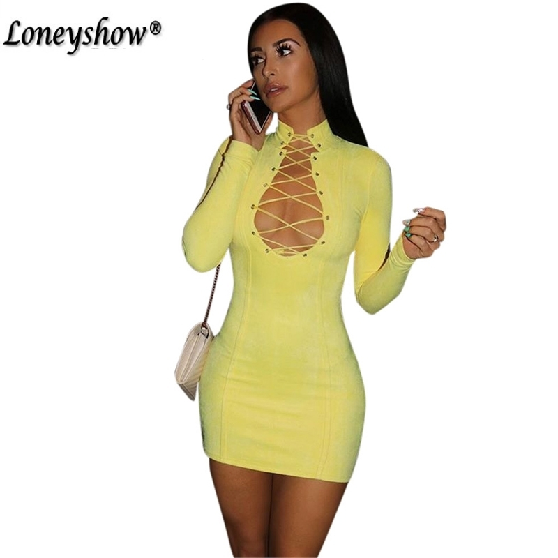 Loneyshow Vestido 2017 Autumn Winter Women Full Sleeve Yellow Eyelet Lace Up Party Club Bodycon Bandage Party Dress