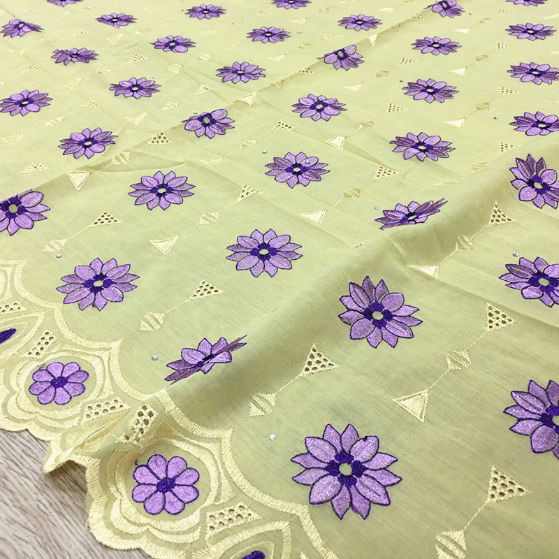 Dry Lace 100%Cotton Embroidery Lace For Wedding African Swiss Cotton Voile Lace 1009 Free Shipping 5yards Lot yellow with lilac-in Lace from Home & Garden    1