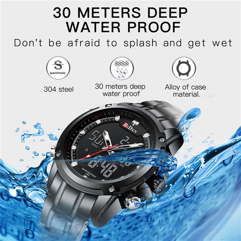 BIDEN TOP marque de luxe hommes montre Sport montres pour hommes numérique Quartz affaires bande en acier étanche horloge Reloj Hombre - 2