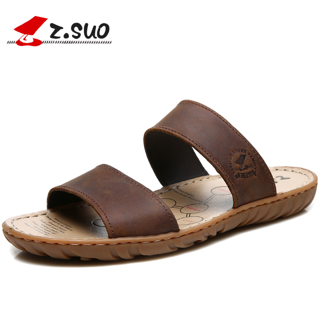 014a110231962 Z.SUO 6619 New Fashion Summer Waterproof 100% Crazy Horse Leather Double  Belts Rubber Sole Men's Slippers Plus Size 45 46 47