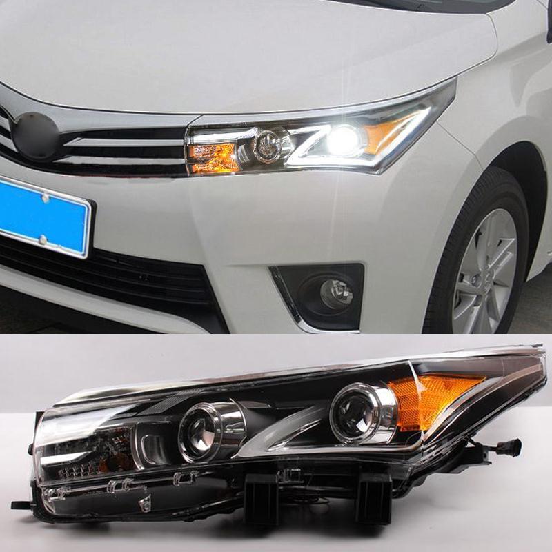 Car Styling Auto Headlight Headlamp For Toyota Corolla 2013 2014 2015 Bifocal Lens Guiding Light Best