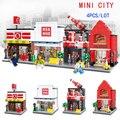 4 unids/lote Mini Coque de Street View Candy House CIUDAD pizzeria Couture Edificio Ladrillos Bloque Compatible Legoe CREADOR NIÑOS JUGUETES