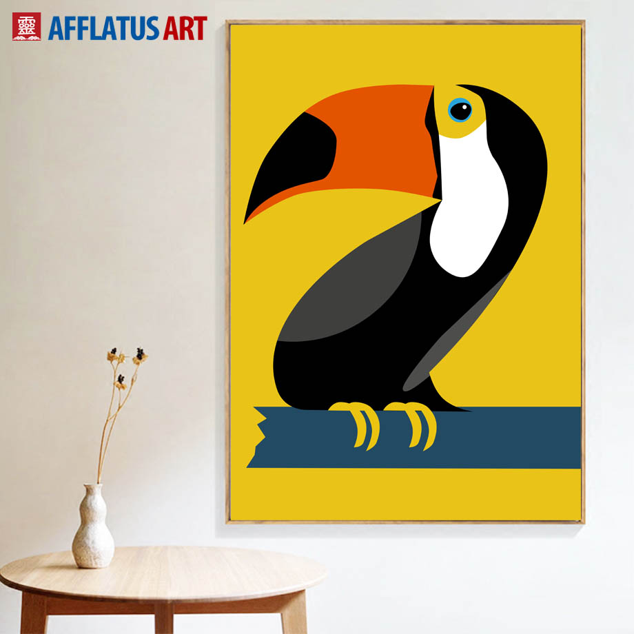 AFFLATUS Toucans Wall Art Canvas Painting Nordic Poster Cartoon ...