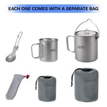 Lixada Lightweight Titanium 3 Pieces Set Outdoor Water Mugs Pot Folding Spork for Camping Hiking Backpacking Drinkware