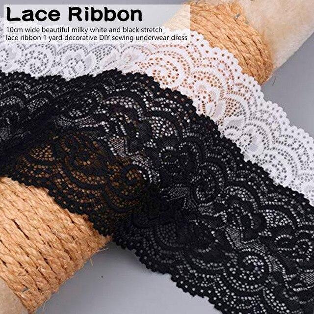 Belle bande de ruban en dentelle blanche extensible   Bande de dentelle de 10cm de large bricolage brodée pour la couture décoration tissu de dentelle africaine