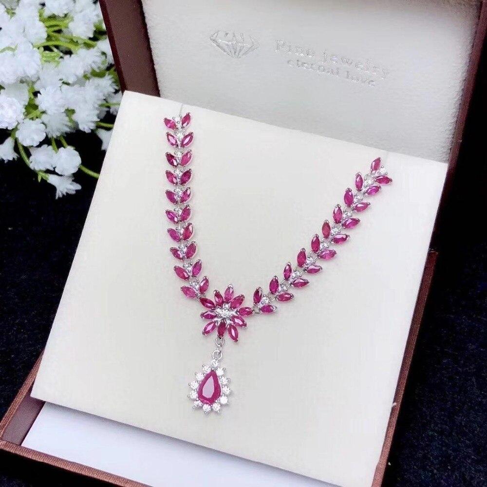 2019 Mode Silber Rubin Anhänger Natürliche Rubin Anhänger Für Party Sterling Silber Rubin Schmuck Geburtstag Geschenk Für Mädchen