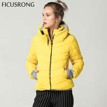 Hooded Yellow Women Autumn Winter Jacket Stand Collar Cotton
