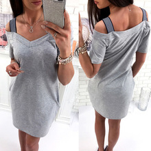 Women Causal Dress Short Sleeve Dress Off Shoulder Elegant Sexy Bodycon Summer Dresses Plus Size