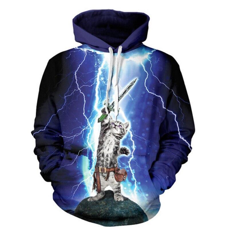 3d animal cat Sweatshirt cats play with lightning thunder cat Sweats Casual men/women Hoodies 2018 New Fashion Sweatshirts