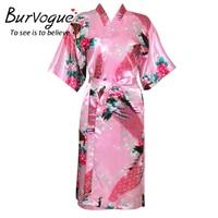 Burvogue Sexy Bathrobe Women Wedding Bride Bridesmaid Long Robe Nightgown Sleepwear Peacock Kimono Gown Plus Size