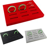 12 Grids Velvet Board Bangle Earrings Necklace Jewelry Display Organizer Box Tray Showcase Rectangle Red Gray