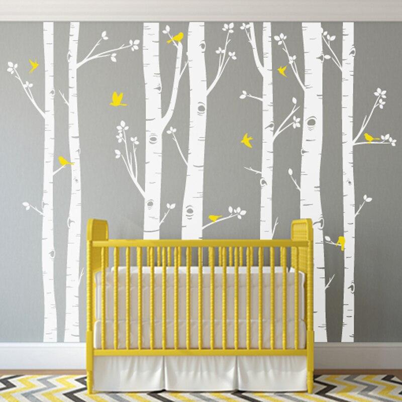 ГОРЯЧАЯ огромный белое дерево наклейки на стену набор из 7 березы с птицами в 3/2 цвета детские наклейки на стену в детскую Декор в гостиную ZA320 - 5