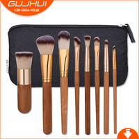 GUJHUI 8pcs Bamboo Handle Three Color Wool Brush Professional Natural Bristle Brush Beauty Makeup Brush And