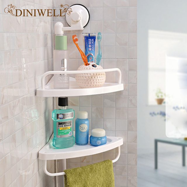 DINIWELL Wall Mounted Kitchen Spice Organizer Shelf Rack Suction Cup Rack  Cup Spice Storage Rack Shelving