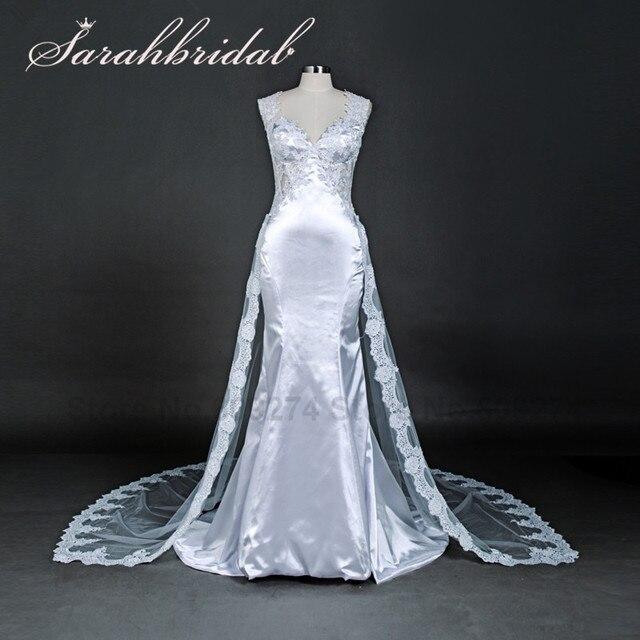 vestidos de novia sexis con espalda descubierta de encaje de sirena