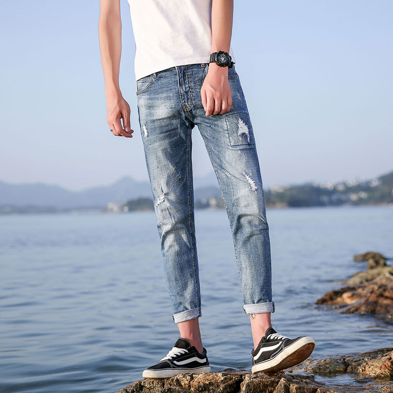 Hot new summer products mens jeans nine points pants stretch 9 points trousers mens pants 946