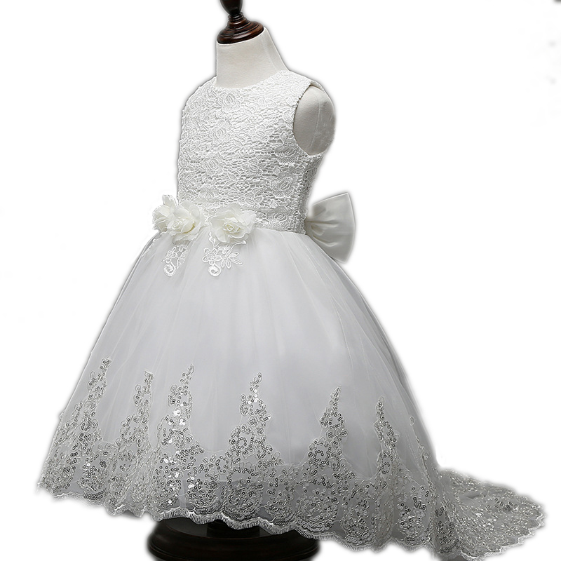 Evening Baby girls summer flower dress tail white wedding dresses girls clothes 6 10 13 years girl tutu princess dress children girl dress 2 7y baby girl clothes summer cotton flower tutu princess kids dresses for girls vestido infantil kid clothes