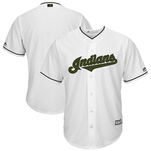 MLB Mens Cleveland Indians Baseball White 2017 Memorial Day Cool Base Team Jersey