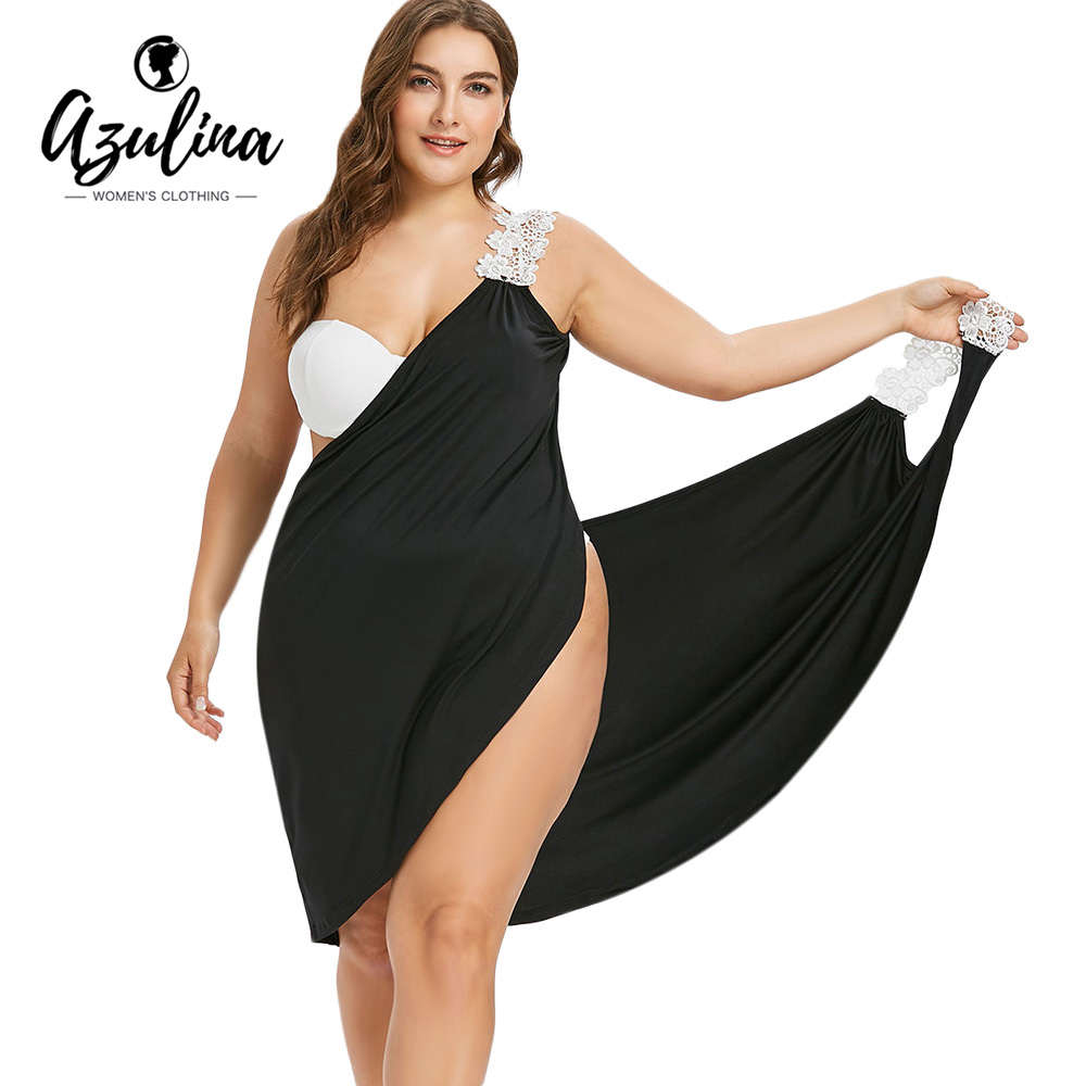 353a44c5c684f AZULINA 2018 New Plus Size Lace Strap Bikini Cover-Up Beach Cover Up Women  Swimsuit