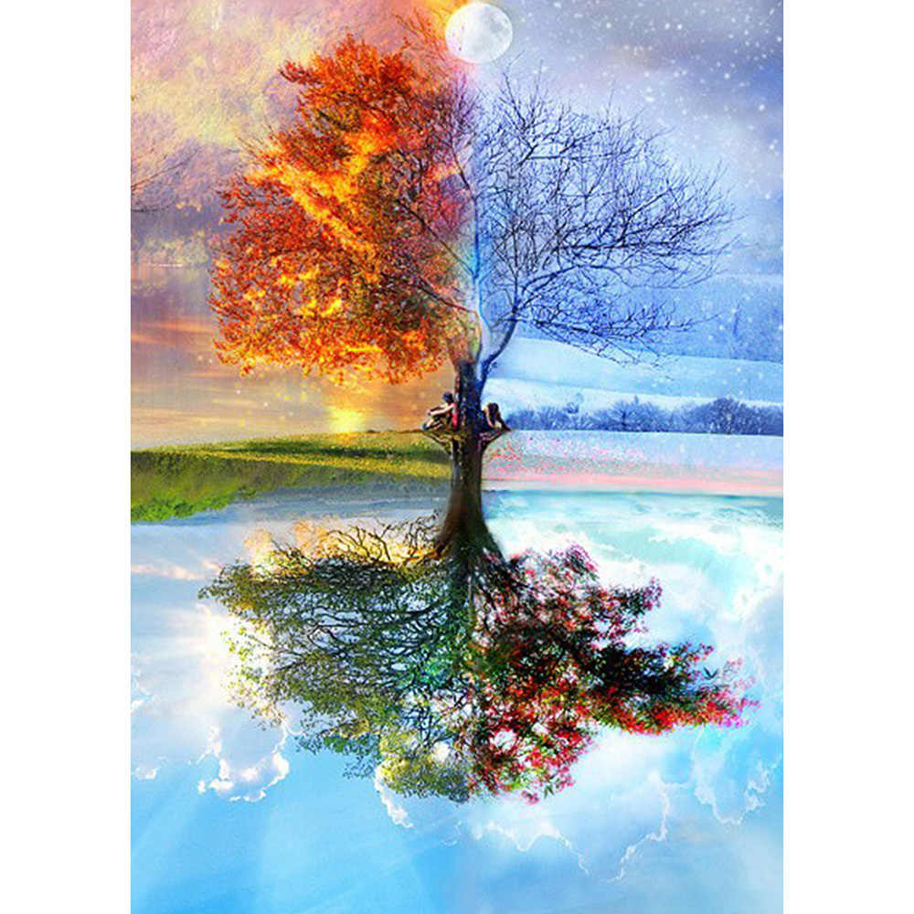Diamond Painting Full drill lake colorful tree 4 seasons Mosaic DIY Diamond Painting Cross Stitch Embroidery Home Decoration