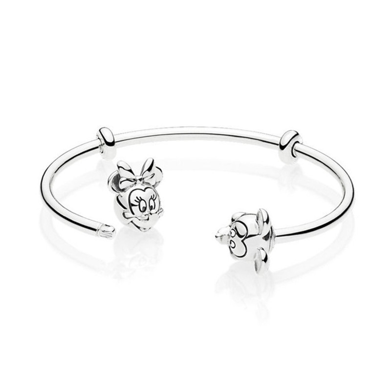 925 Sterling Silver Bead Charm Bracelet Fit Original Signature Mickey And Minnie Pandora Open Bangle For