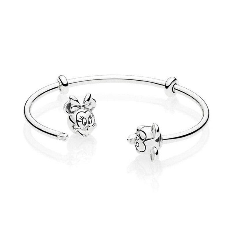 Bracelet à breloques avec perles en argent Sterling 925 avec Signature originale Mickey et Minnie Pandora bracelet ouvert pour femmes bijoux à bricoler soi-même cadeau