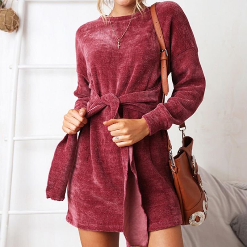 Solid Velvet  High Waist Mini Dresses Long Sleeve Bow Sashes Female Autumn Fashion Dress For Women 2018 Hot Sale Vestidos